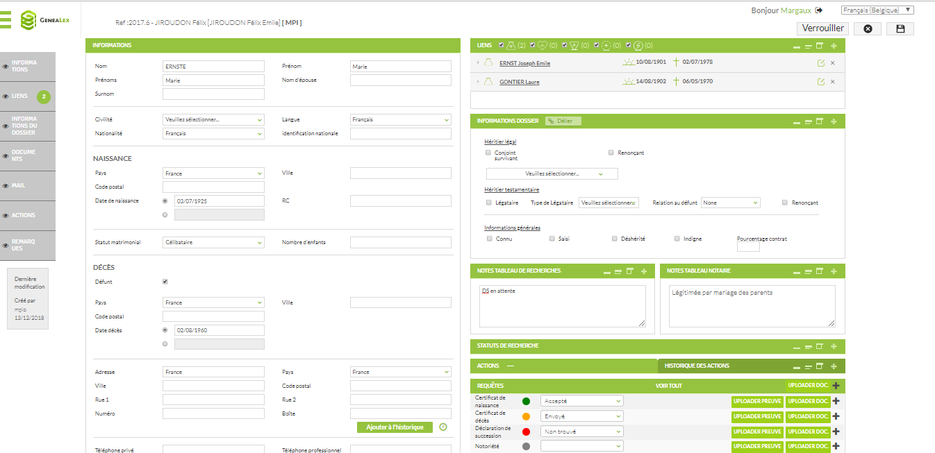 Capture d'écran montrant une fiche membre de la famille, avec les différents champs, notes et requêtes liées