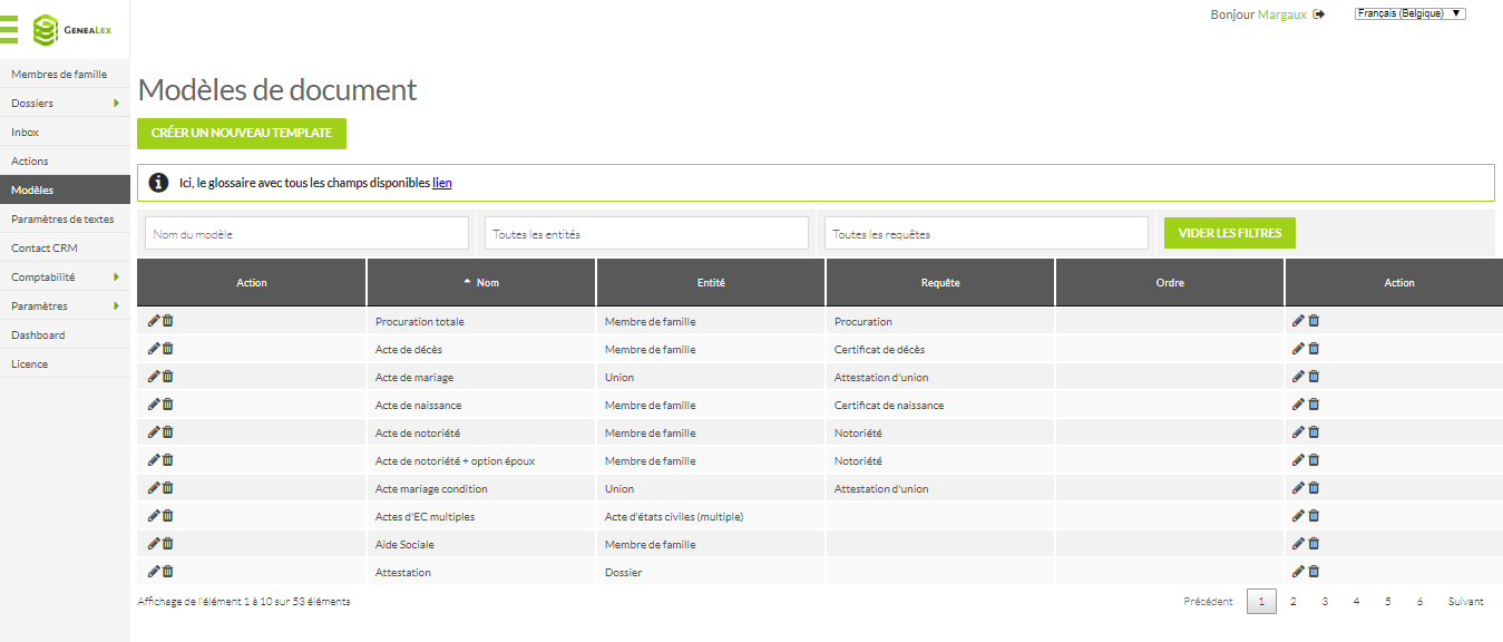 Capture d'écran d'une liste de modèles de documents (par exemple acte de mariage)