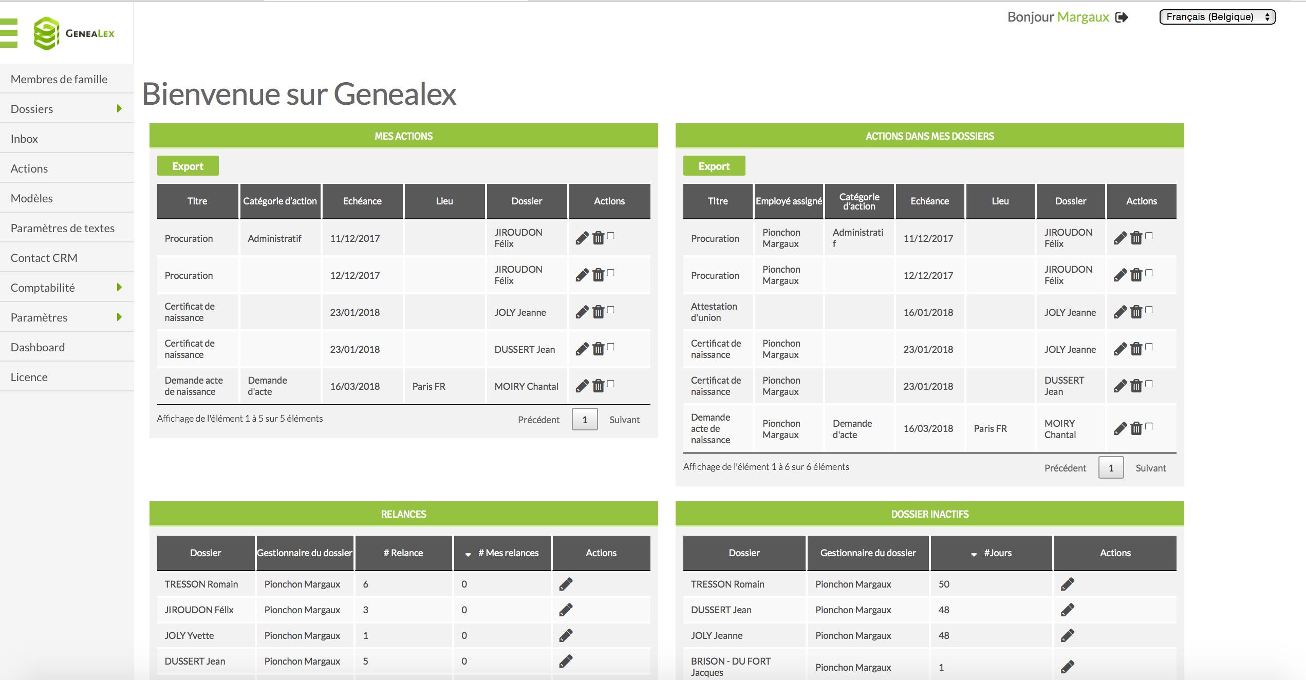 Capture d'écran d'un tableau de bord avec un résumé des actions, des actions dans mes dossiers, des relances et des dossiers inactifs